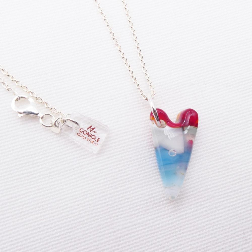 Multicoloured glass heart on silver #2