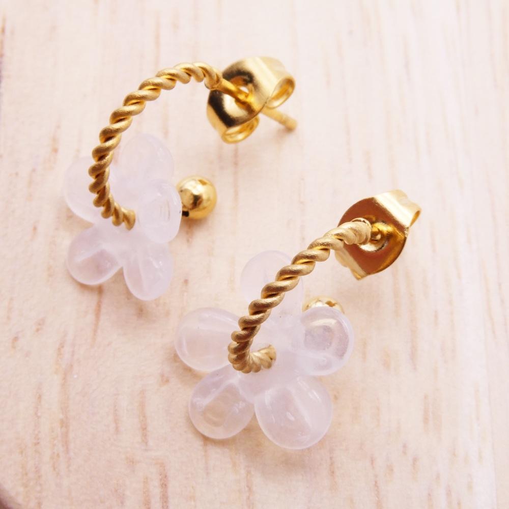 Small Clear Flower twisted  hoop earrings