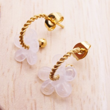 Small Translucent pink Flower twisted  hoop earrings