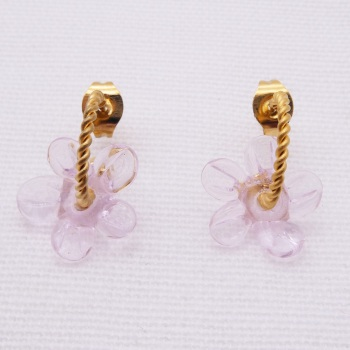 Small Translucent pink Flower twisted  hoop earrings-gold