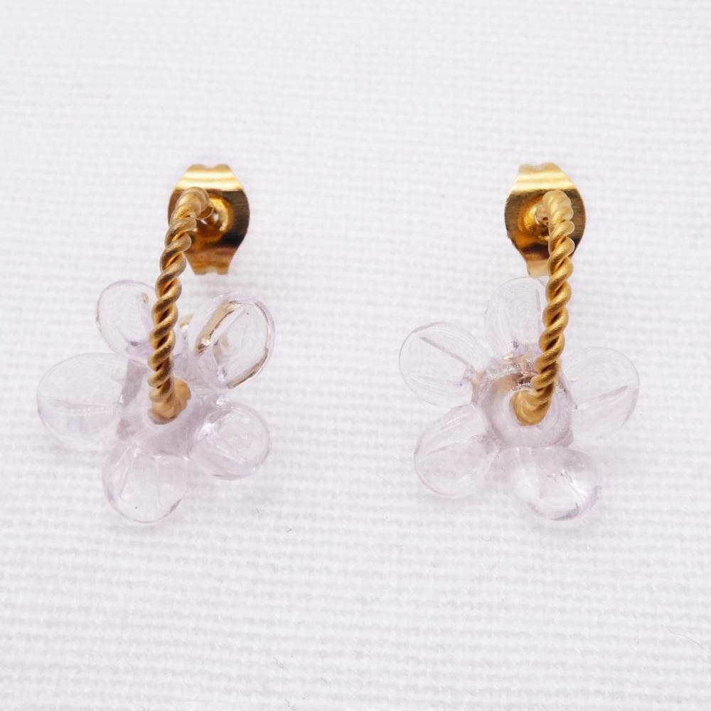 Small clear glass  Flower twisted  hoop earrings