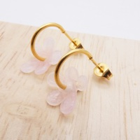 Small  translucent light pink  glass Flower hoop earrings-gold