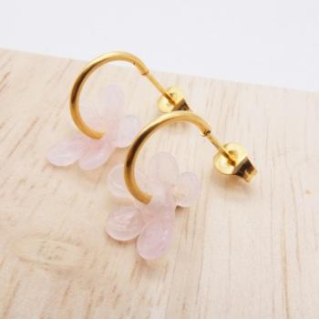 Small  translucent light pink  glass Flower hoop earrings-gold