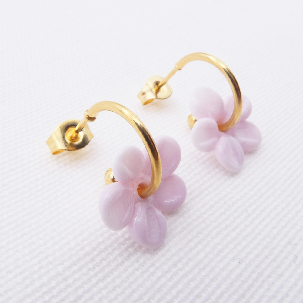 Small pink  glass Flower hoop earrings
