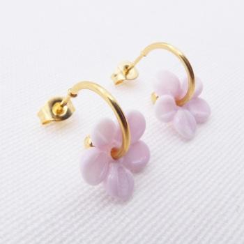 Medium pink  glass Flower hoop earrings-gold