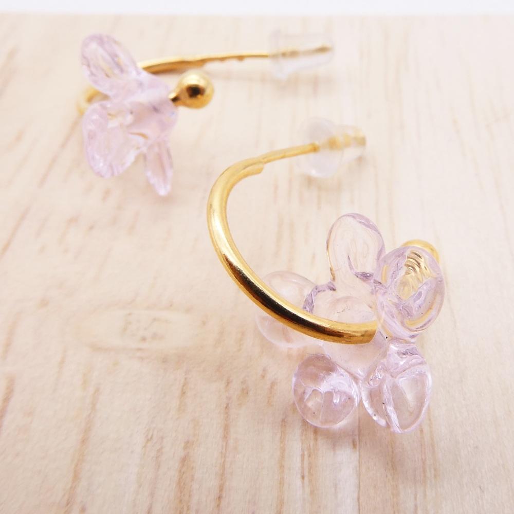 Medium translucent pink glass Flower hoop earrings