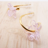 Medium translucent pink glass Flower hoop earrings-gold