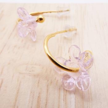Medium translucent pink glass Flower hoop earrings-gold