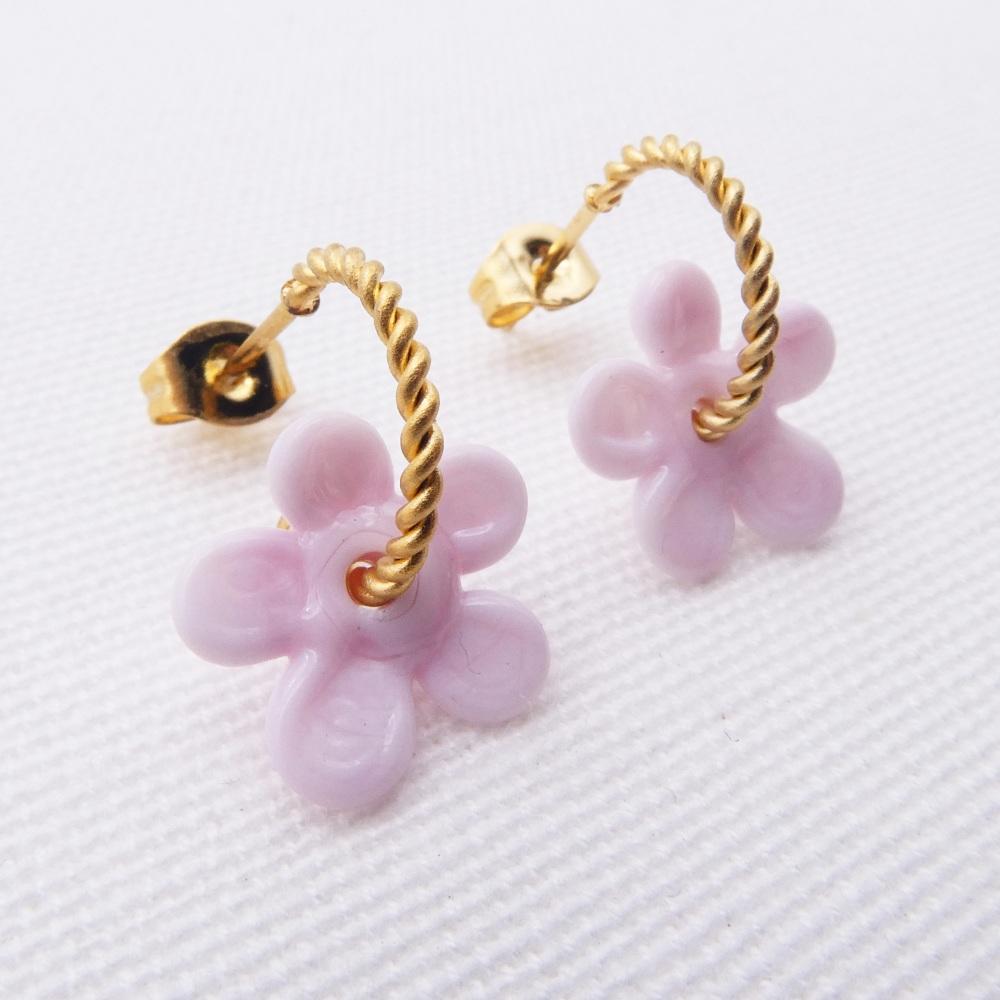 Small Pink Flower twisted  hoop earrings