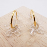 Medium clear glass Flower hoop earrings-gold
