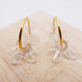 Medium clear glass Flower hoop earrings-gold