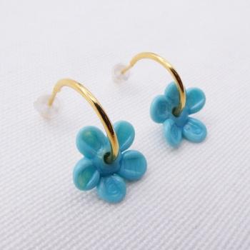 Medium turquoise  glass Flower hoop earrings-gold