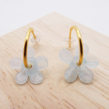 Medium translucent turquoise  glass Flower hoop earrings-gold