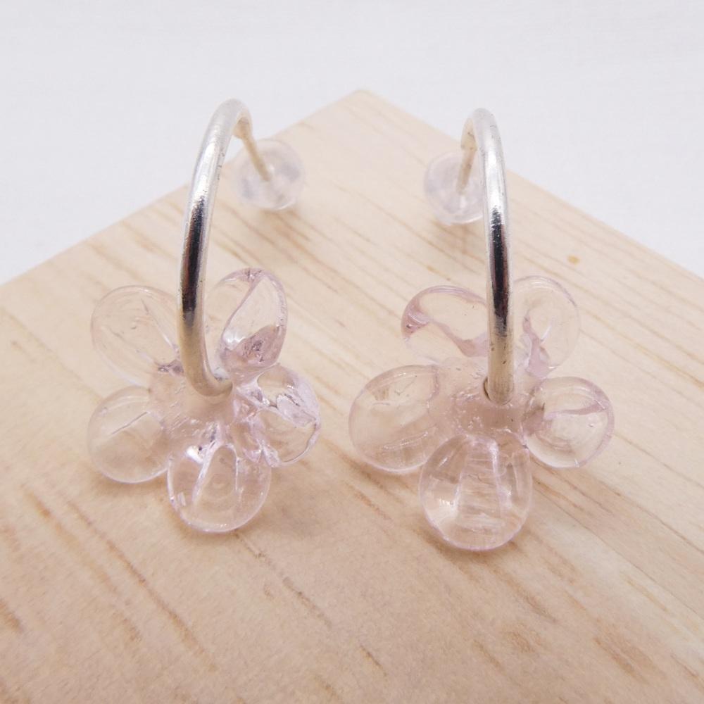 Medium translucent pink  glass Flower hoop earrings-silver