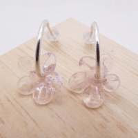 Medium translucent pink  glass Flower hoop earrings-silver