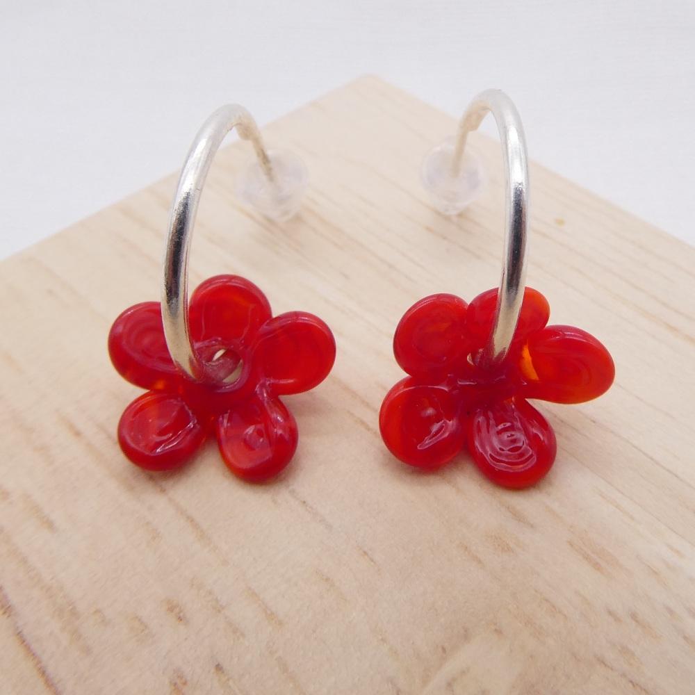 Medium red  glass Flower hoop earrings-silver