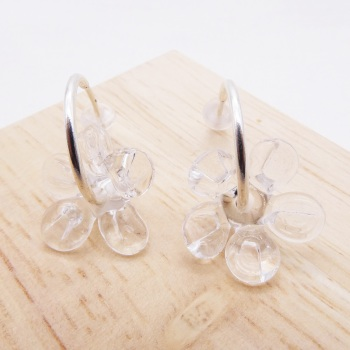 Medium clear glass Flower hoop earrings-silver