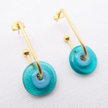 Turquoise Glass Disc Drop earrings