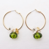 Large Glass Cluster Creole hoop earrings