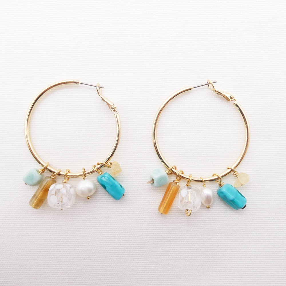 Large Glass Beaded Creole hoop earrings