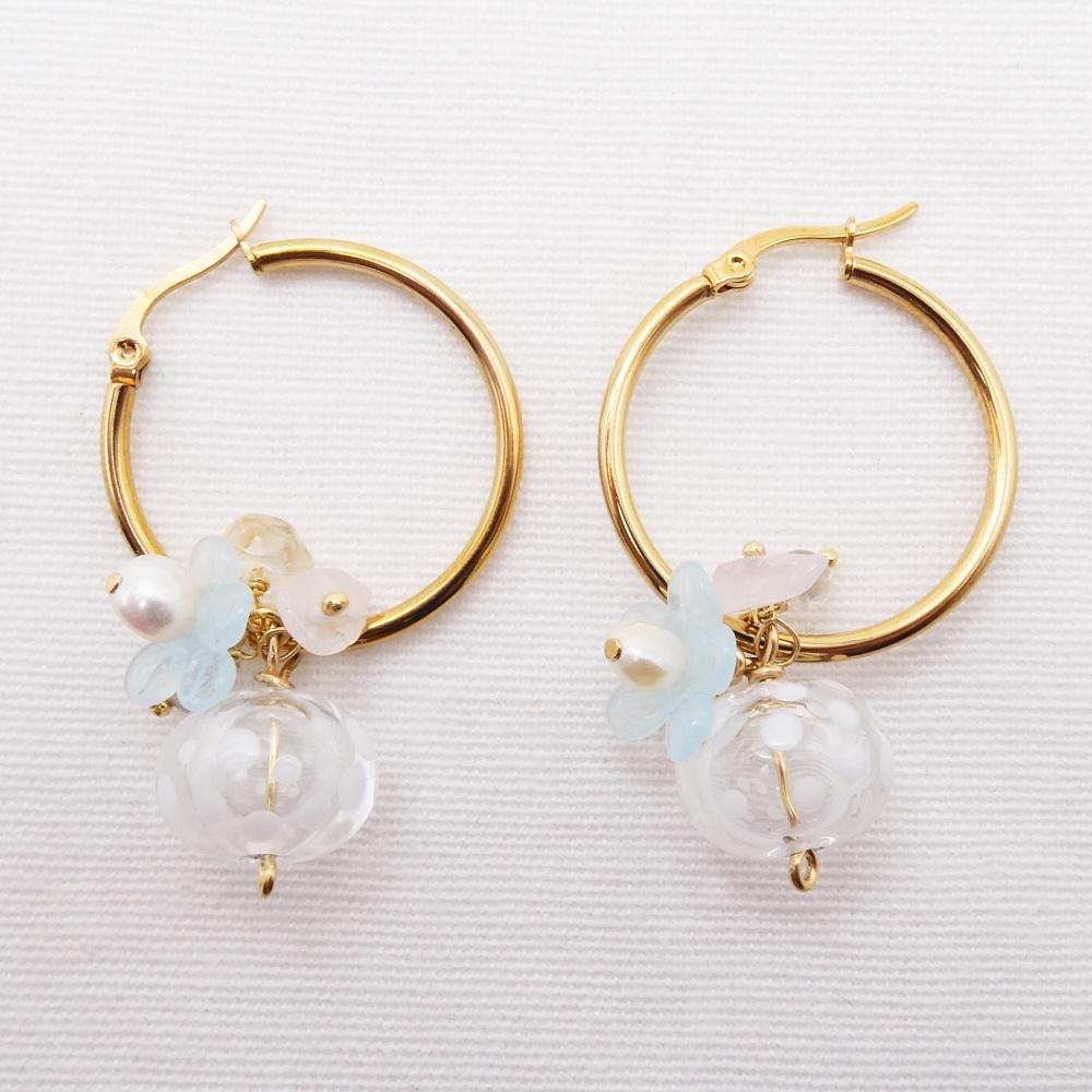 Big polka dot Glass Beaded Creole hoop earrings