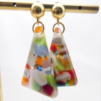 Multicoloured geo drop earrings on filled gold