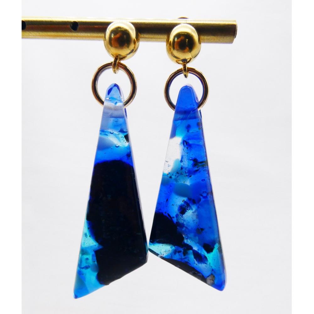 Blue geo drop earrings on filled gold- Large