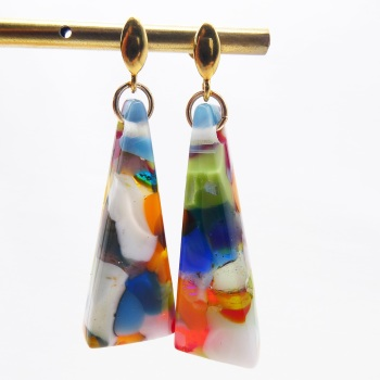 Multicoloured geo drop earrings on filled gold- Large