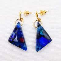 Blue geo drop earrings on filled gold-medium