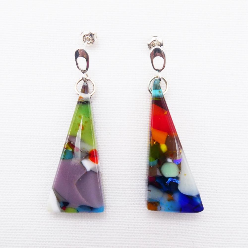 Large Multicoloured  Glass diamond drop earrings on Silver