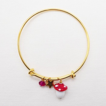 Glass Mushroom On a 14K Gold Plated Bangle