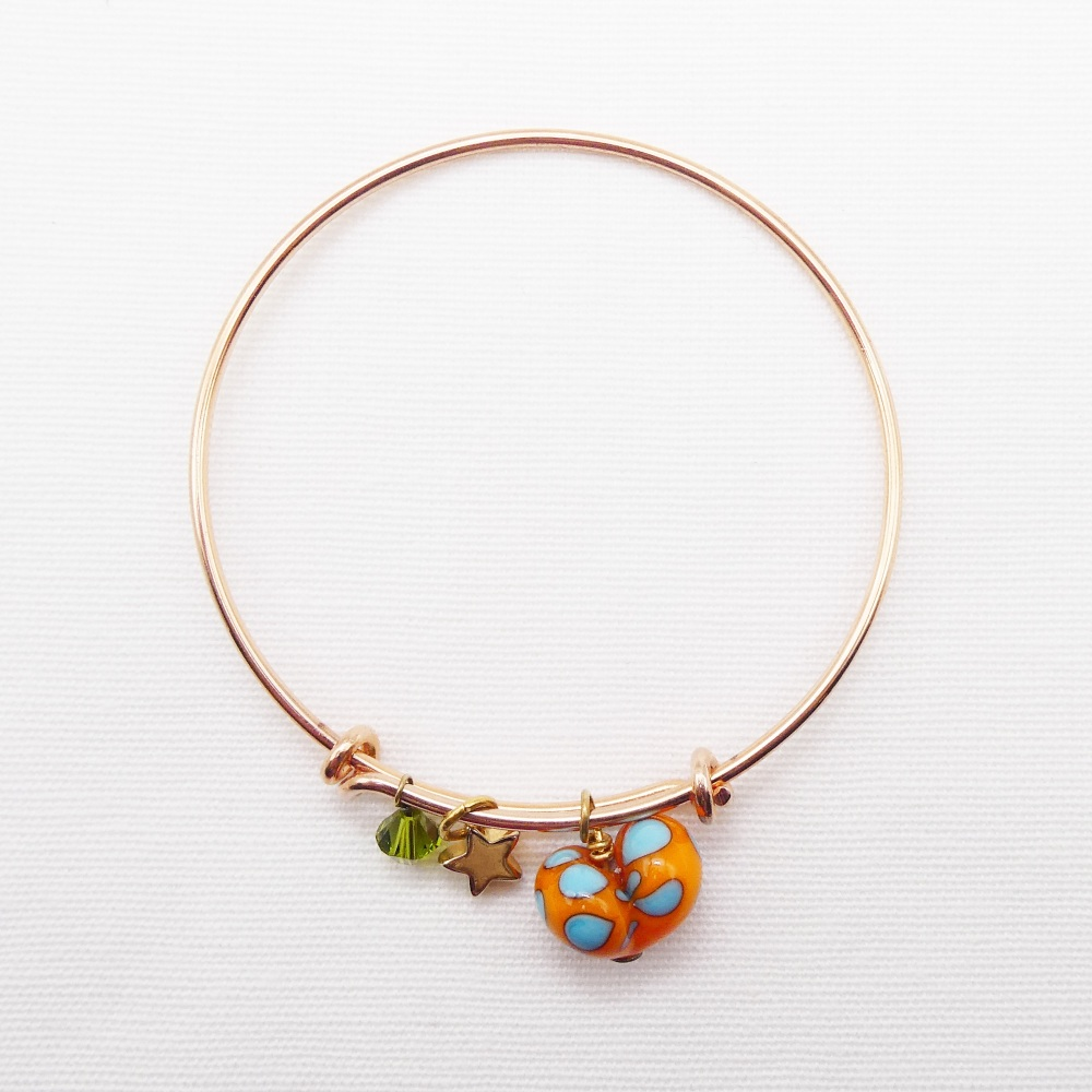 Orange and turquoise  glass Heart On a rose gold Plated Bangle
