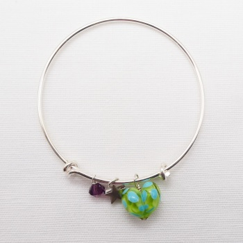 Green and Turquoise  glass Heart On a silver Plated Bangle  with purple Swarovski