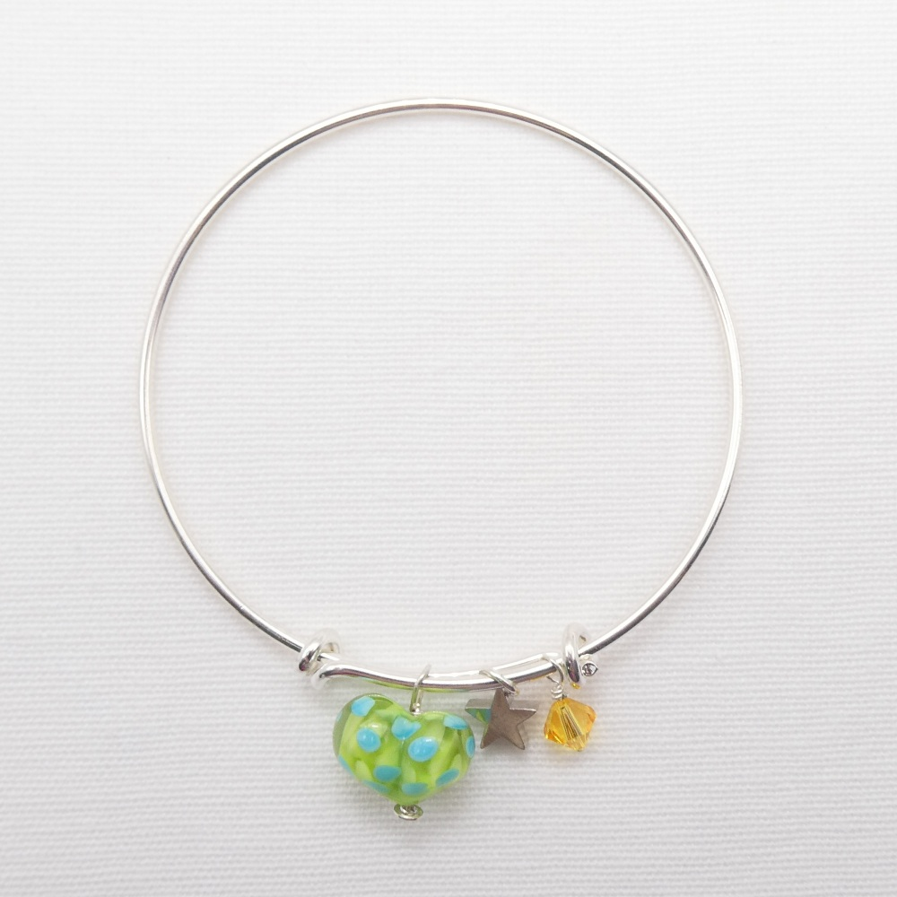 Green and Turquoise  glass Heart On a silver Plated Bangle  with yellow Swa