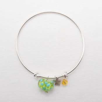 Green and Turquoise  glass Heart On a silver Plated Bangle  with yellow Swarovski