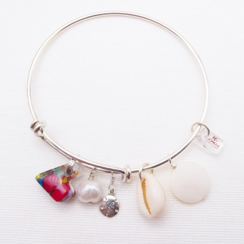 Solid sterling silver bangle-The ocean has my heart