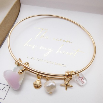 Luxury Gold filled bangle-The ocean has my heart