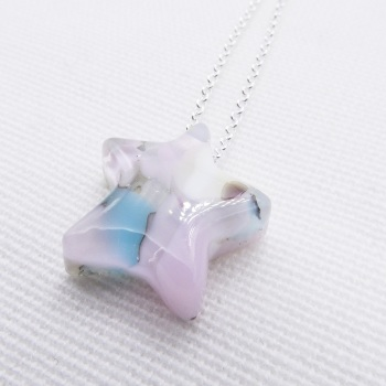 Pastel Glass Star on silver #1