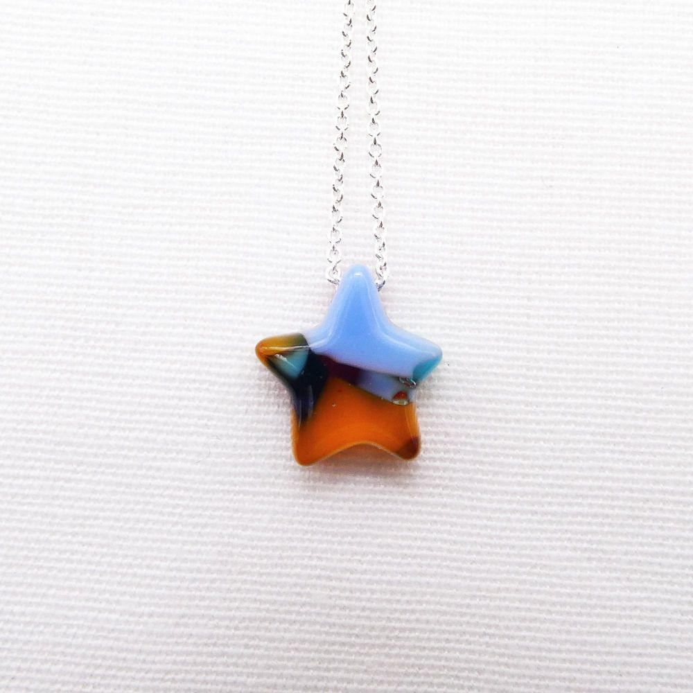 Multicoloured Glass Star on silver #1