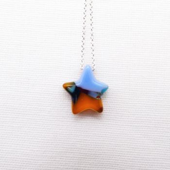Multicoloured Glass Star on silver #1