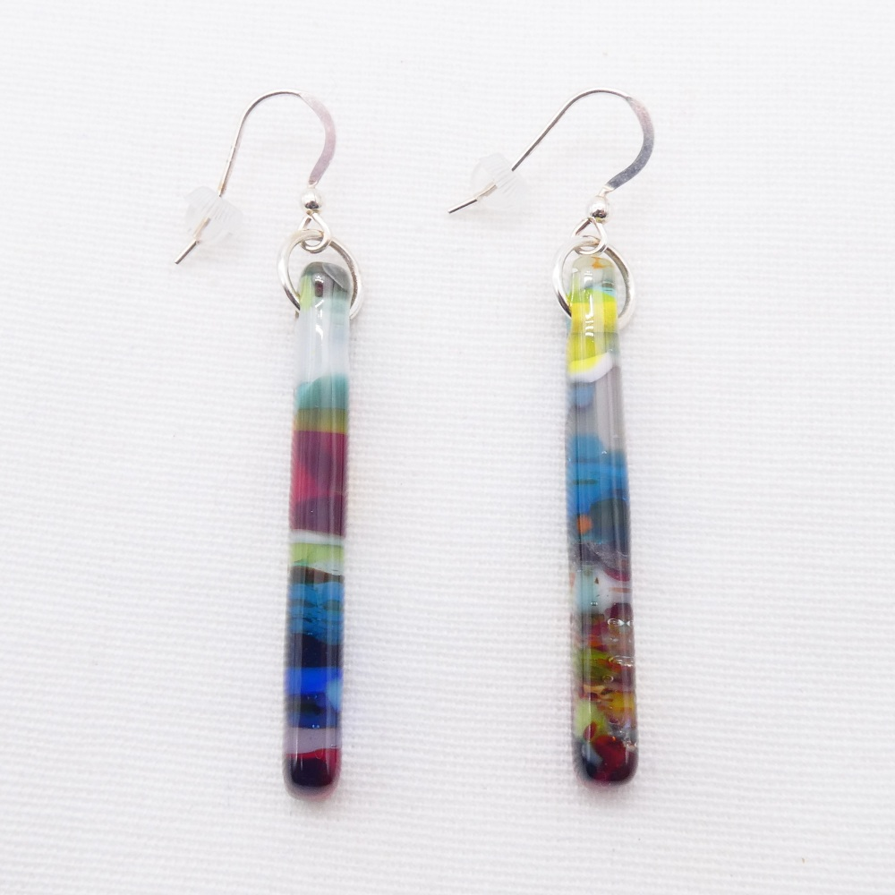 Multicoloured glass pillar earrings on silver