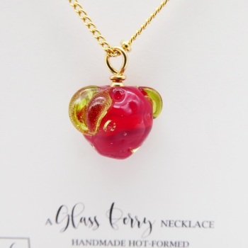 Glass Strawberry on Gold