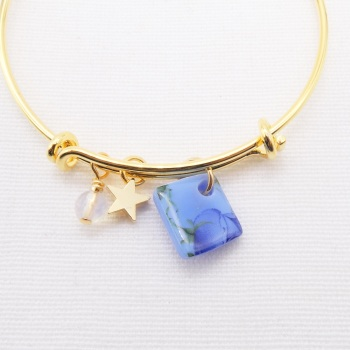 Blue floral watercolour Glass Tile  On a 14K Gold Plated Bangle
