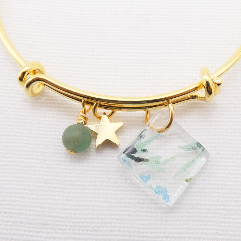 Clear watercolour floral Glass Tile  On a 14K Gold Plated Bangle