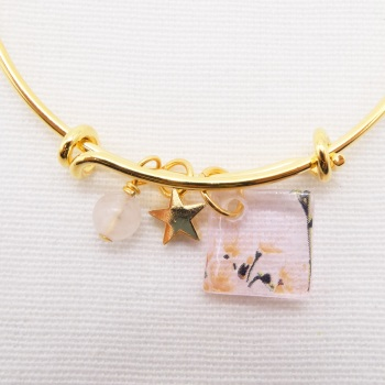 Pink watercolour Floral Glass Tile  On a 14K Gold Plated Bangle