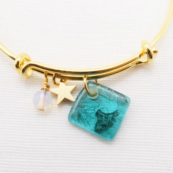 Turquoise floral drawing Glass Tile  On a 14K Gold Plated Bangle