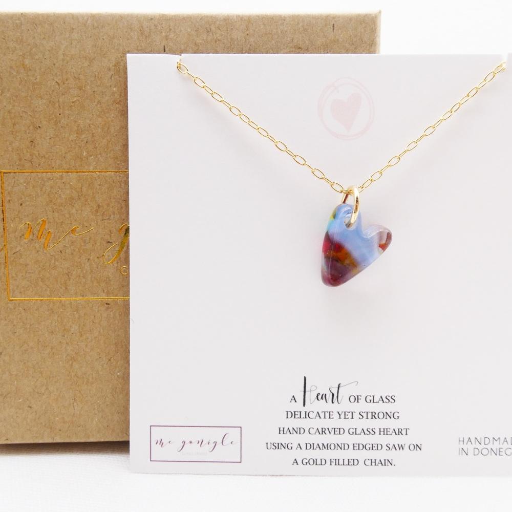 Multicoloured glass heart on gold #1