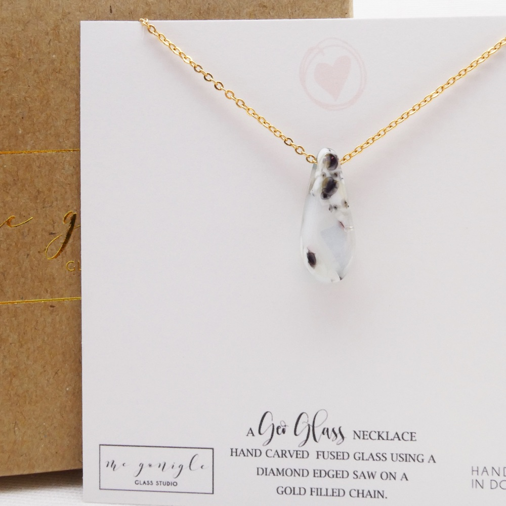 Glass Raindrop on gold in White and grey