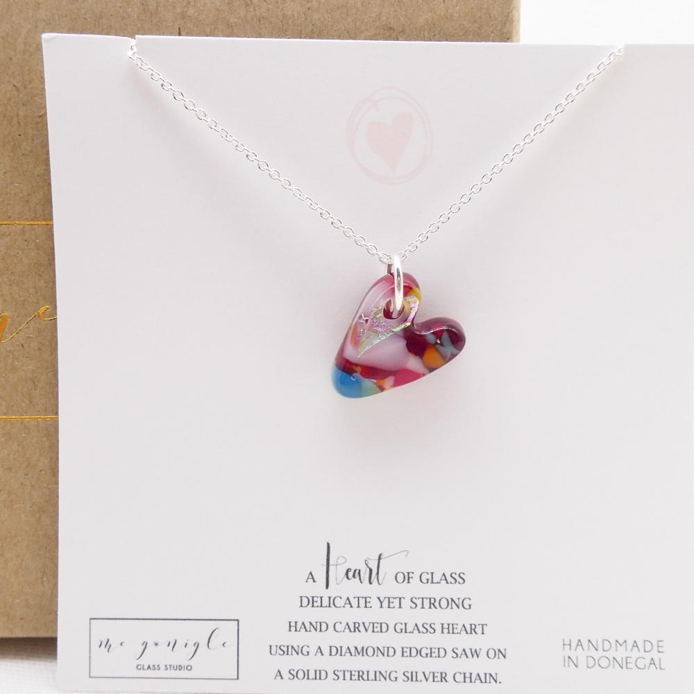 Multicoloured glass heart on silver #1