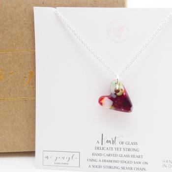 Multicoloured glass heart on silver #4